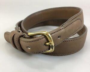"Coach Womens 30"" 75cm Beige Leather Belt 1"" Wide 28-30.5"" Belt Holes Made in USA"