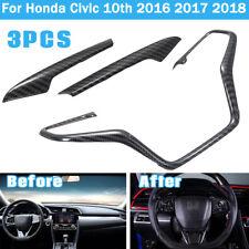Carbon Fiber Car Steering Wheel Framed Cover Trim For Honda Civic 10th 2016-2018