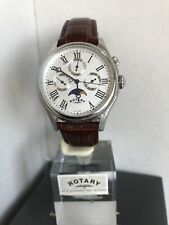 Rotary Men's Moon Phase Silver Dial Analog Brown Leather Strap Watch GS02838/01