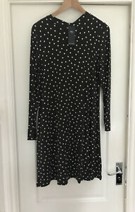 New Ladies Marks And spencer Grey Spot Swing Dress Size 12