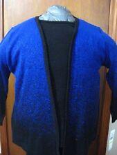 Alfred Dunner Women's Layered Look Sweater Cardigan 3/4 Sleeve Blue Black Medium