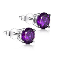 Created Amethyst 6mm Round Cut 925 Sterling Silver Stud Earrings Gifts for Women