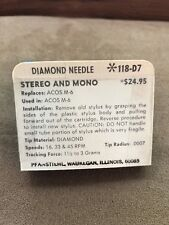 Vintage NOS Pfanstiehl Turntable Needle Part # 118-D7