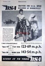 1951 B.S.A. Star Twin & Golden Flash Motor Cycles Bonneville AD #2: Print ADVERT