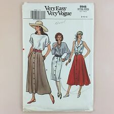 Uncut Vogue 9946 Misses Skirt Straight Or Flared Pleat Button 8 10 12 Easy
