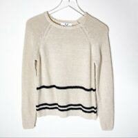 Magaschoni Cotton Pullover Striped Navy Sweater Crew Neck XS