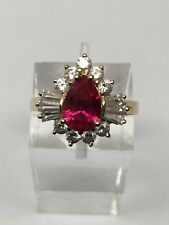 14K Yellow Gold Pear Shape Created Ruby and Cubic Zirconia Ring Size 6
