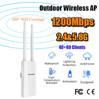 1200Mbps Outdoor Wireless Access Point AP Wifi Signal Extender 5.8Ghz POE Power