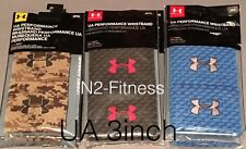 Unisex Under Armour Performance Wristband 3inch Black Blue Camo 2 Pack New