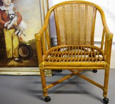 McGuire Palm Beach Mid Century Modern Bamboo Rattan Cane Back Rolling Armchair