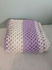 Handmade Large Crochet Blanket pink lilac white glitter baby home craft giftable