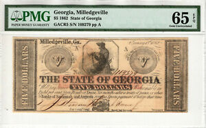 1862 $5 STATE OF GEORGIA MILLEDGEVILLE OBSOLETE NOTE GACR5 PMG GEM UNC 65 EPQ