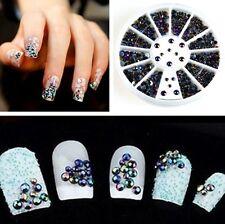LOTS 3D Nail Art Tips Crystal Glitter Rhinestone Pearl Decoration+Wheel New