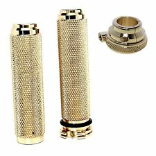 "Motorcycle Solid Brass 7/8"" Hand Grips & Throttle Housing Metric"