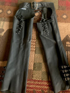 Icon Women's Hella Leather Motorcycle Chaps Black Size M