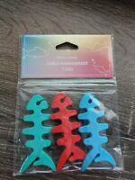 "3 Fish Bone Headphone Cord Cable Organizer Winder Green Red Blue 3"""