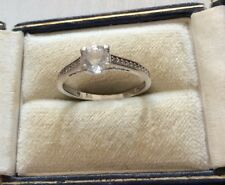 Zirconia Solitaire Dress Ring - P Lovely Ladies Full Hallmarked 9Ct White Gold