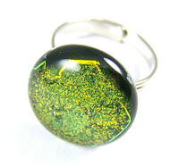 """Cocktail RING Adjustable DICHROIC Fused Glass 3/4"""" 20mm Bright Gold Brass Dot"""