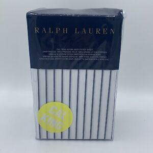 Ralph Lauren Prescot Stripe CALIFORNIA KING Fitted Sheet Navy / White