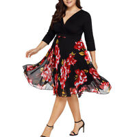 NEW Women Midi Dress V Neck Wrap Chiffon Floral Long Sleeve Plus Size Prom Dress