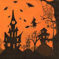 4 Motivservietten Servietten Napkins Tovaglioli Halloween Schloß Hexe (873)
