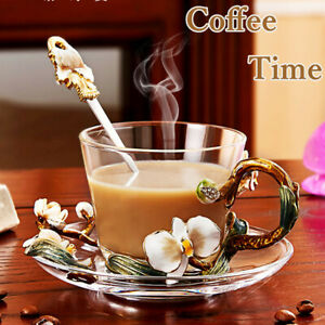 230ml Afternoon High Tea cup Glass Enamel Juice Coffee Hot Tea Cup Bottle Setof3