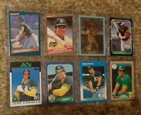 (8) Jose Canseco 1986 1987 Donruss Fleer Topps Sportflics Rookie card lot RC A's
