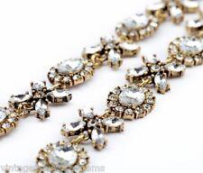 CLEAR WHITE CRYSTAL RHINESTONE Gold Vtg Flower Pendant Choker Statement Necklace