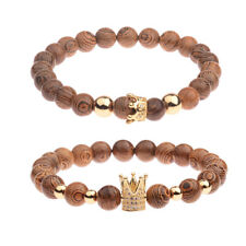 2 Pcs/Set King Queen Crown Couple Bracelets His And Her Wooden Beads Bracelets