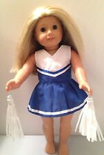 """Doll Clothes Made for American Girl or 18"""" Dolls-Royal Blue & White Cheerleader"""