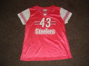 Pittsburgh Steelers TROY POLAMALU #43 PINK FASHION FOOTBALL JERSEY WOMENS XLARGE