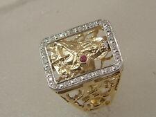 14K SAINT BARBARA DIAMOND RING - 14 KARAT GOLD SANTA BARBARA MEN'S DIAMOND RING
