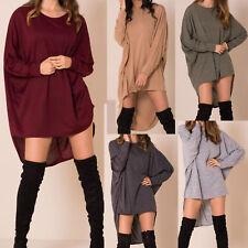 NewWomens Plus Plain Oversized Knit Long Sleeve Batwing Dip Hem Baggy Ladies Top