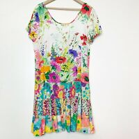 Vintage Jam World Floral Short Sleeve Baby Doll Dress Women's Size Small