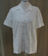 Koret Francisca Petites, PM, White Floral Eyelet Button Front Top, NWOT