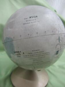 """VTG 1967 TIN REPLOGLE 6"""" GLOBE THE MOON ROBERT JOHNSON ADLER PLANETARIUM"""