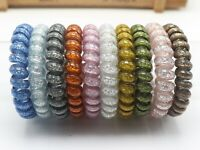 10 Glitter Colour Spiral Coil Elastic Hair Ties Scrunchies Telephone Cord 55mm