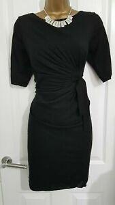 Phase Eight Black Fine Knit Wool Blend Drape Knot Dress UK 12 EU 40 US 8