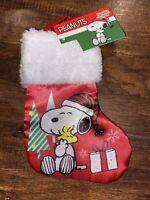 "Peanuts Snoopy Mini Gift Card Holder Christmas Stocking Satin New 8"""