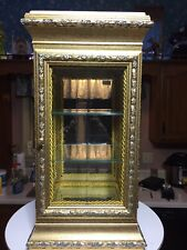 Vintage Horchow Italian Florentine Gold Gild Curio Display Cabinet Marble Top
