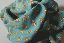 """VINTAGE 1940's NOS COLD RAYON DRESS FABRIC,BLUE,PAISLEY PRINT,4 YDS.,38"""" WIDE"""