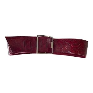 MISS M WIDE FAUX LEATHER CHERRY RED FLORAL EMBOSSED BELT 26-31 INCHES MEDIUM