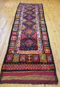 Bohemian 1930-1940s Antique Wool Pile Kurdish Tribal Runner 3×10ft