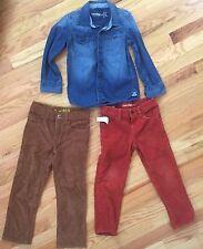 BABY GAP 3pc Outfit Lot - CORDUROY PANTS & BUTTON-DOWN DENIM SHIRT Size 5 Years