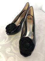 Sofft Pump Heel Black Patent Leather Peep Toe Flower Women's Size 10 M EUC