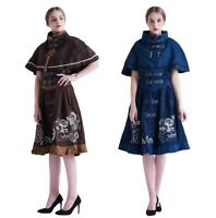 Vintage Lolita Girls Steampunk Gear Embroidery Corset JSK Dress Cape Costume