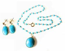 Turquoise pendant on beaded twisted wire necklace with matching earrings