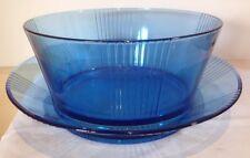 BLUE GLASS ART DECO BOWL & PLATTER