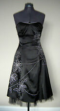 BRAND NEW Black Satin Embriodered Sequin Strapless Party Dress Size 8