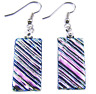 DICHROIC Glass EARRINGS Silver PINK Pastel Rose Ripple Dangle Surgical Steel 1""